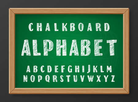 Hand drawn chalk doodles capital letters of the Latin alphabet on green realistic chalkboard