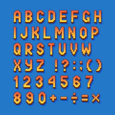Pixel retro font computer games, videos, web sites. 8 bit letters, numbers and symbols.