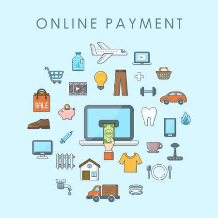 Online payment concept, flat web design banner, editable stroke