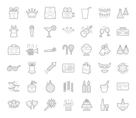 A set of simple outline party icons, editable stroke