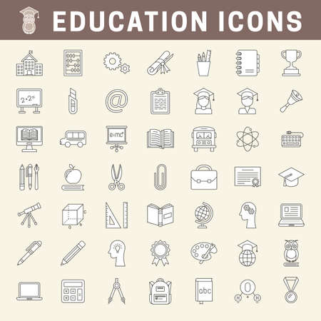 Set of school and education outline icons with fill, editable stroke
