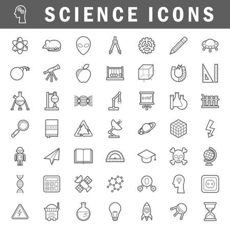 A set of simple outline science icons, editable stroke Çizim