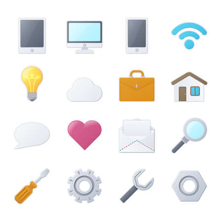 Set of color universal icons for web and mobile apps