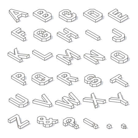 Isometric capital letters of the Latin alphabet and symbols, with shadow and editable stroke isolated on white background Illustration