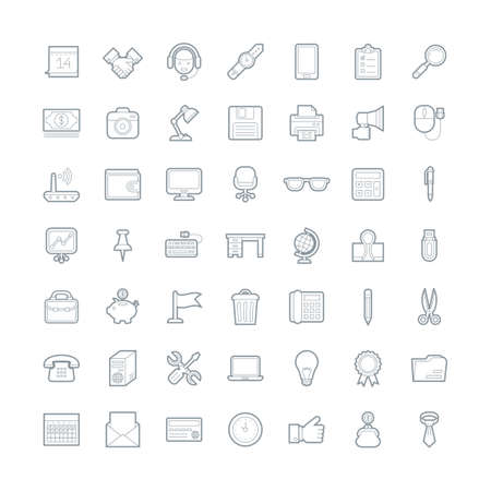 A set of simple outline office equipment icons, editable stroke