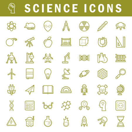 A set of simple outline science icons, editable stroke Illustration