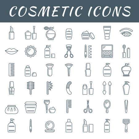 A set of simple outline cosmetic icons, editable stroke