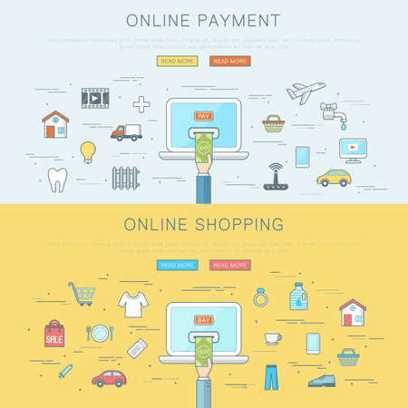 Online payment and shopping concept, flat web design banner, editable stroke