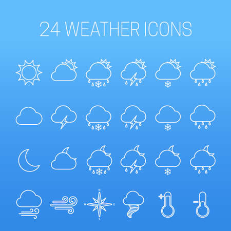 Set of linear weather icons on blue background 写真素材 - 151804313