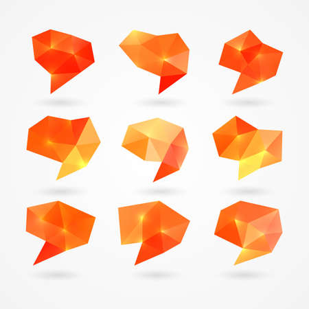 Set of abstract bright orange polygonal speech bubbles. Isolated on white background Ilustrace