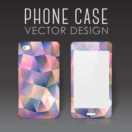 Case for mobile phone with bright polygonal mosaic 写真素材 - 151804319