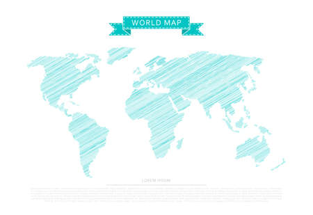 Blue scribble world map isolated on white background
