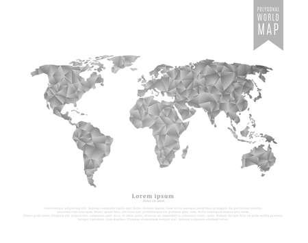 World map made of monochrome mosaic of polygonal