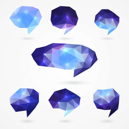 Set of abstract blank blue purple polygonal speech bubbles. Isolated on white background