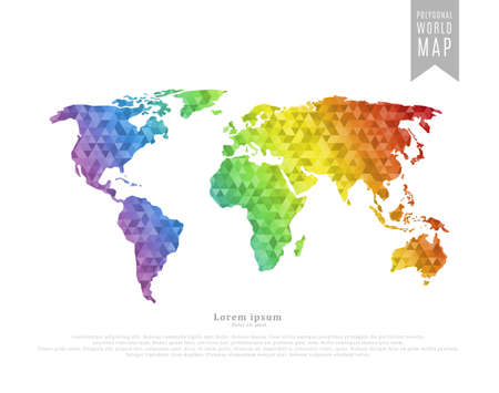 World map made of full-color mosaic of polygonal