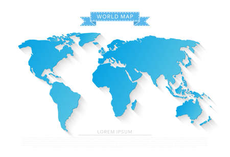 Blue world map isolated on white background with long shadow