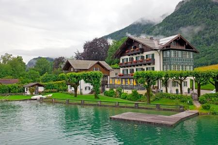 Casa sul lago Wolfgangsee Austria Village St Wolfgang Archivio Fotografico - 12570995