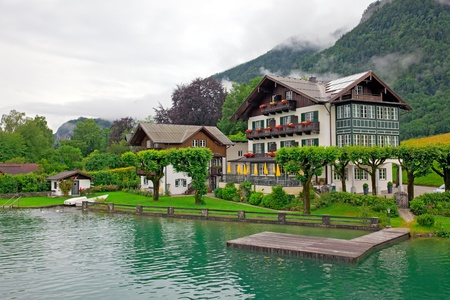 european alps: House on the lake Wolfgangsee Austria  Village St  Wolfgang  Editorial