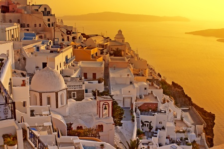 Amazing sunset at Oia village in Santorini island