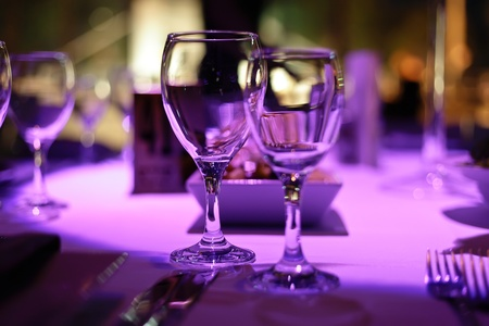 Table decorated for romantic dinner for two