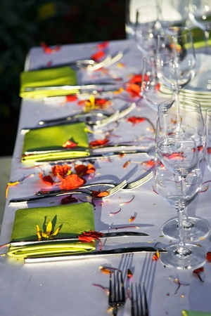 Table decorated for the wedding party with bright green napkins. photo