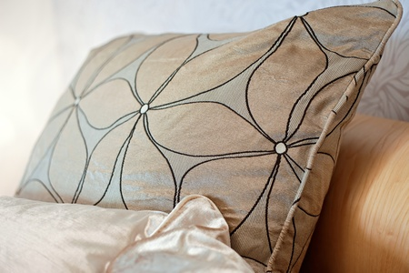 brocade pillows in the living room Stock Photo