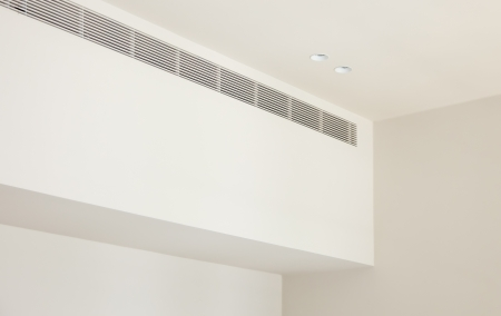 Plaster ceiling with grating the air conditioner photo