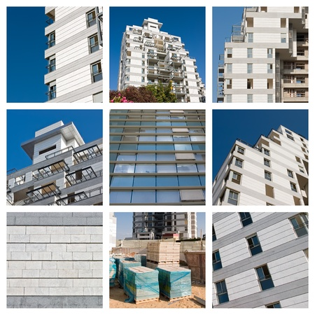 concrete blocks: Collage residential building construction site and blue sky