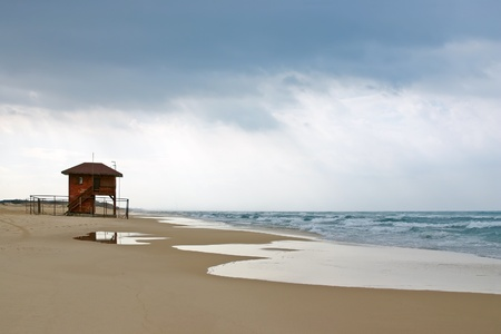 hurricane sandy: Empty beach with lifeguard house before the storm  Tel-Aviv Israel, Mediterranean Sea