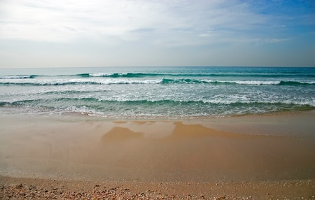 Empty beach before the storm  Tel-Aviv Israel, Mediterranean Sea