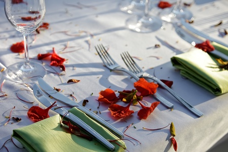 Table decorated for the wedding party   photo