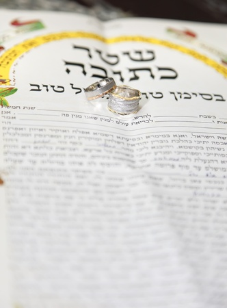 Traditional jewish wedding, signing prenuptial agreement  ketubah  Jewish marriage contract