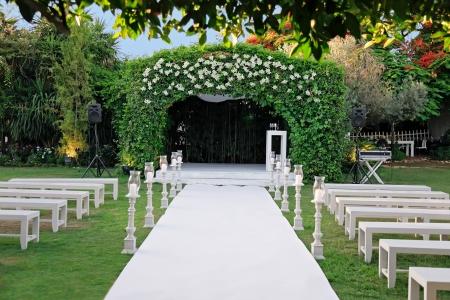 결혼식: 유대인의 전통 결혼식 웨딩 캐노피 chuppah 또는 huppah 스톡 콘텐츠