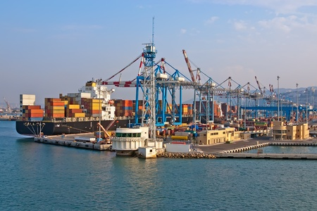 View from the sea port and containers  port in Haifa, Israel   photo