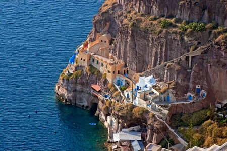 Oia village in Santorini island in Greece   View of the sea and the village Stock Photo - 13056590