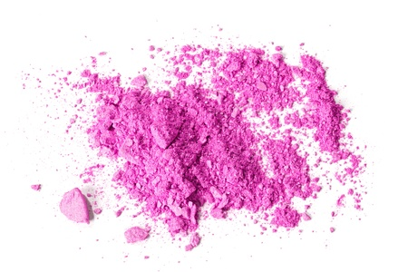 makeup powder: Crushed makeup on white background  The eye shadows