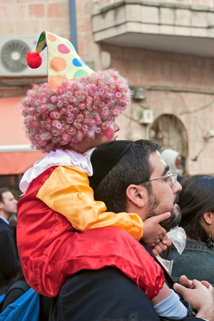 Purim carnival in Jerusalem  Unidentified people watch the show