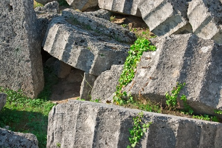 Ancient ruins of the Temple of Zeus at Olympia, Greece  Detailed view of broken column photo