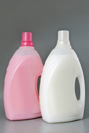 Detergenttwo bottles  Cleaning products  Isolated
