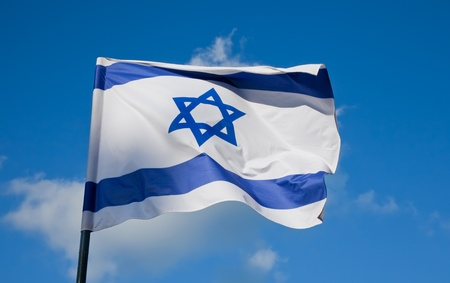Flag of Israel, depicts a blue Star of David on a white background, between two horizontal blue stripes   photo