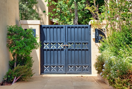 Entry black metal gates with gold handles in the garden photo