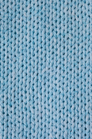 Blue knitted horizontal textured background  Stock Photo