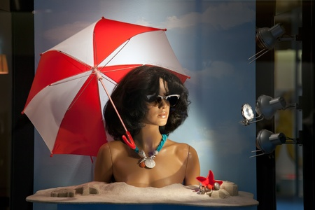 Showcase the jewelry store with a mannequin adorned jewelry  Summer collection  photo