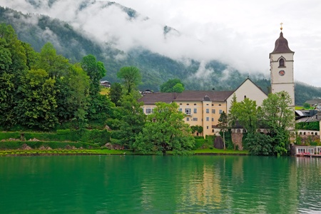 The beautiful village St  Wolfgang on the lake Wolfgangsee Austria photo