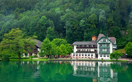 House on the lake Wolfgangsee Austria  Village St  Wolfgang  photo