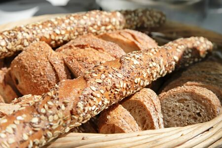 bread basket: Assorted Bread - sliced bread and baguette Stock Photo
