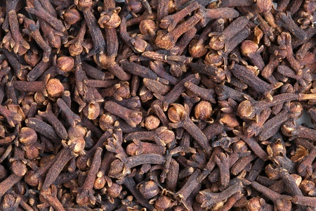 clove of clove: Clove  Syzygium aromaticum  texture, background  Used as a spice in cuisines all over the world  The plant is also used in medicine