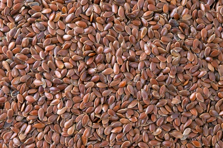 Flax seeds  Linum usitatissimum  texture background  Also called common flax or linseed  Used as an ingredient in paints, fiber and cattle feed, produce a vegetable oil  The plant is also used in medicine  Stock Photo - 13493007