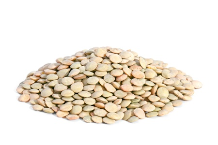 Pile Green Lentils isolated on white background  Lentils are rich in protein, carbohydrates, fiber, and low in fat Stock Photo - 13493386