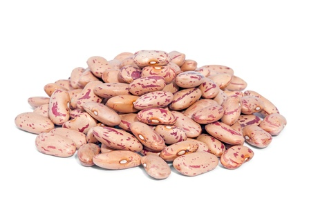 Pile Cranberry Bean isolated on white background  Also called Borlotti Bean or Shell Bean  Cranberry beans are rounded with red specks